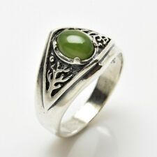 Celtic Tree of Life Ring .925 Sterling Silver Sz 9.5 World Tree w/ Natural Jade