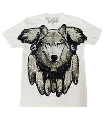 Rawyalty Apparel White Sequined Wolf T-Shirt
