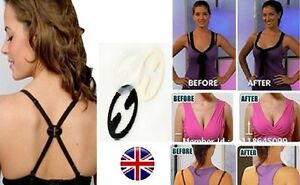 Bra Strap Clip Push up Racer Back Clips Cross Over Cleavage Enhancer 3 PC UK