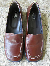 """Brown Leather Jones Low 1"""" Heel Square Toe Shoes in Size 6 - ex-display"""