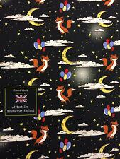 Noir Renards & Ballons & Lune Nuages 100% Coton Popeline Tissu Imprimé