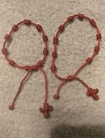 4 Red Bracelets For Men and Women Adjustable Protection Bracelets with cross