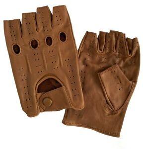Men's Real Leather Half Finger Biker Gloves Motorcycle Driving Fingerless Holes