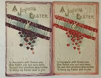 Lot of 2 Cute~Bunny Rabbits in Flowery Airplanes~ Vintage~ Easter Postcards-s-98