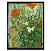 Vincent Van Gogh Butterflies And Poppies Art Print Framed 12x16