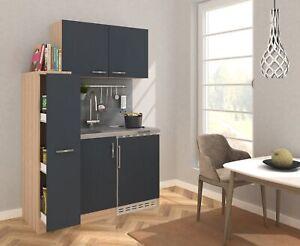 Singleküche Küchenzeile Küche Miniküche Küchenblock 130 cm Eiche grau respekta