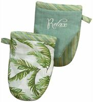 Kay Dee Designs Relax Palm Cove Embroidered Mini Oven Mitt One Size Green/white