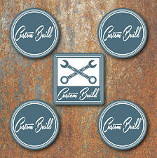 Custom Build Wheel Centres Stickers 58mm Round Hot Rat Rod Camper Beetle B