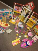 Vintage A-Frame Barbie Dream House With Dolls,Furniture,And A Lot More ++