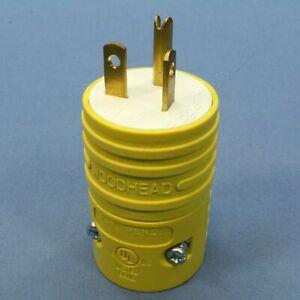 Woodhead Yellow Rubberized Nylon Rubberized Nylon Plug 5-20P 20A 125V 5366-RB