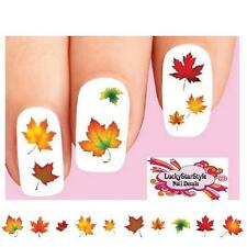 Waterslide Nail Decals Set of 20 - Fall Autumn Leaves Assorted