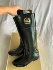 Brand New Michael Kors Stockard Tall Rain Boots In Black w/Gold Logo - Size 8