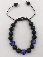 10mm Shamballa Beaded Adjustable Bracelet Genuine Black Onyx Hand Set Crystals