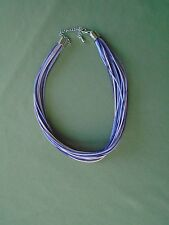 "20"" Silver Tone Adjustable 30 Cords Necklace Violet Rose Purple Lobster Claw"