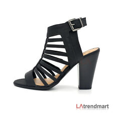 New Women Open Toe Caged Strappy Zipper Stacked Heel Sandal Shoe Lacing Size 6