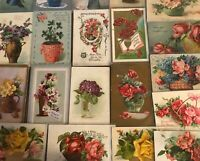 ~ Lot of 25~Flowers in Vases & Baskets ~Vintage Floral~ Greetings Postcards-p913