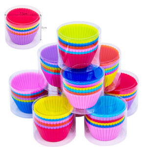 SET OF 12 SILICONE CUPCAKE CASES REUSABLE ASSORTED COLOURS