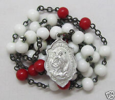 "† SCARCE c1800s ANTIQUE DEVOTION ""ST MICHAEL"" RED & WHITE GLASS ROSARY CHAPLET †"