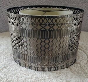Metal And Linen Double Drum Lamp Shade- Ornate Design
