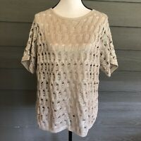 Chico's Size 3 XL Womens Short Sleeve Tan Gold Accent Cotton Sweater Top Blouse