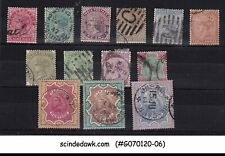 INDIA - 1882-1895 SELECTED QV QUEEN VICTORIA STAMPS 13V - USED