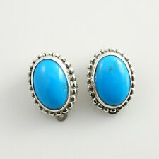 Unique Sterling Silver Blue Turquoise Clip Earrings