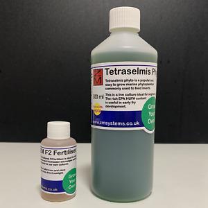 Live marine Tetraselmis phyto 500ml with FREE ZM F2 fertiliser 50ml combo