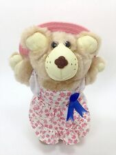 "Vintage 1986 Furskins Hattie Wendy's Teddy Bear Pink Dress Hat 7"" Xavier Roberts"