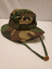 "Army Hat Military Sun Hot Weather Jungle Woodland Camo Bucket ~ 7.25"" ~ PreOwned"