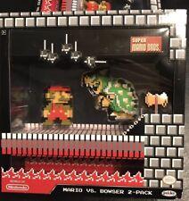 "World of Nintendo MARIO VS BOWSER 2-Pack Diorama 8-Bit 2.5"" JAKKS PACIFIC Super"