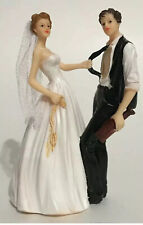 WEDDING CAKE TOPPER FIGURINE BRIDE AND GROOM HUMOR FUNNY.