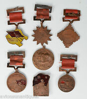 7 Various wwll korea Chinese Medals Copper & Enamel Dated with Writing