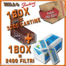 3000 CARTINE Smoking BROWN corte=1box + 2400 FILTRI 5,5MM RIZLA ULTRASLIM 1box