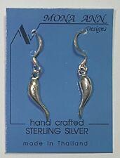 925 Sterling Silver Italian Horn Dangle Earrings 1 1/4 inch Long  # 54