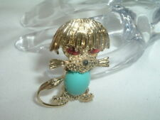 Vintage Goldtone French Poodle Dog Pin W/ Turquoise Belly In Gift Box