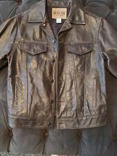 Gap Blue Jeans World Standard 100% Leather Jacket XS Vintage Brown Button Up