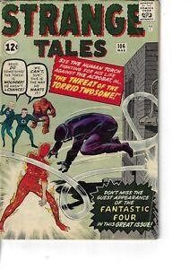 Strange Tales 106 Human Torch Torrid Twosome Fantastic 4 VG 1963 Glossy Kirby