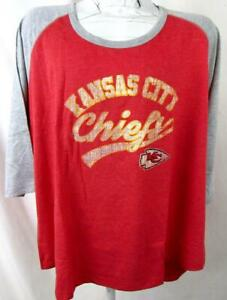 Kansas City Chiefs Womens Plus Size 1X 3/4 Sleeve Screened Team T-shirt AKAC 279