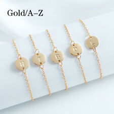 Letter A-Z Women Stainless Steel Gold Silver Bracelet Bangle Fashion Jewelry