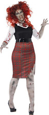 Curves Zombie School Girl Costume, with Dress, Tie and Belt -  (Siz.. COST-W NEW