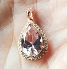 5.41CT Pear Cut Morganite W/CZ Pendant Rose Gold Finish