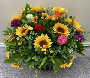 Wall Or Fence Basket Planter With High Quality Artificial Flowers
