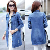 New Women  Casual Long Sleeve Denim Jacket Long Jeans Coat Outwear Overcoat
