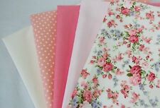 5 New Fat Quarter Bundle 100% Cotton Bunting Fabric Strawberry Rose Floral 010