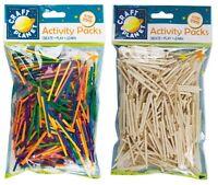 500 Natural / Coloured Wooden Kids Matchsticks Art & Craft Model Making Sticks