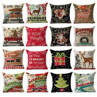 Cotton Linen Throw Christmas Club Cushion Cover Pillow Case Sofa Car Home Decor