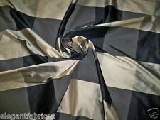 STROHEIM & ROMANN VISENTIN SILK CHECK FABRIC 10 YARDS SILVER TAUPE BLACK CREAM