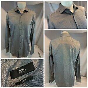 Hugo Boss Slim Fit Shirt 16 35 Gray Cotton Point Collar Turkey New YGI J1-79