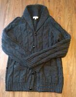 Turnbury Shawl-Collar Cardigan 80% Lambs Wool. Button Men's Small Grey