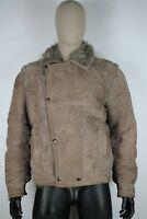 MUFLONE ORIGINALE  MONTONE SHEEPSKIN Cappotto Giubbotto Jacket Tg 52 Uomo Man C